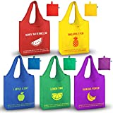 Reusable Grocery Bags Washable, Heavy Duty. Made from Recycled Plastic. Waterproof, Lightweight, Colorful, Extra Large, 65LBS. Pack of 5 Foldable Into Pouch. Reusable Shopping Bags for Groceries with Cute, Fun, Design, Fruits, Eco-Friendly Gift, Durable Tote Bag XL