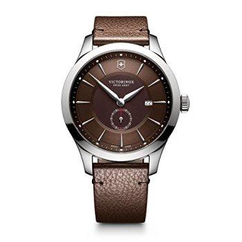 Victorinox Men's Alliance Stainless Steel Swiss-Quartz Watch with Leather Strap, Brown, 21 (Model: 241766)