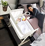 Baby Bassinets – Adjustable and Easy to Assemble Bassinet for Baby, Lightweight Baby Bassinet and Bedside Sleeper for Safe Co-Sleeping with Detachable Side Panel