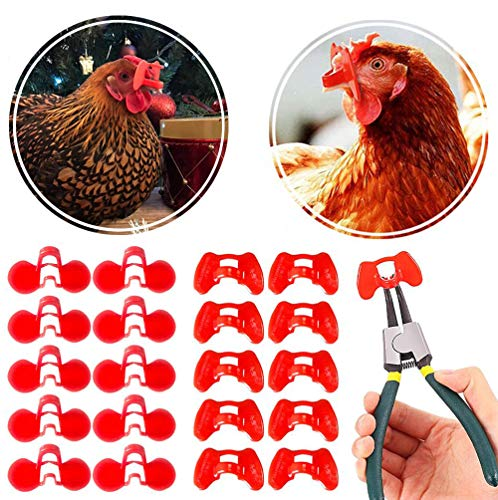 DSSPORT 41 Pieces Pinless Peepers with Pliers Set Chicken Peepers Eye Glasses Pheasant Poultry Blinders Spectacles Anti-Pecking