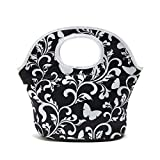 Neoprene Lunch Bag For Women, Printed lunch bags for Women Kids Girls Men Teen Boys, Insulated Waterproof Lunch Tote Box for Work School Travel and Picnic (White Flower)