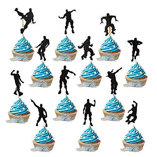 YGSAT 24 Piezas Pastel Topper Glitter Happy Birthday Street Dance cumpleaños Party Accesorios/Negro