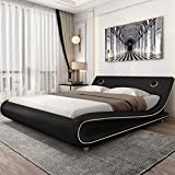 Amolife Modern Queen Size Bed Frame with Adjustable Headboard,Upholstered Faux Leather Platform Bed with 24 Wooden Slats,No Box Spring Needed, Speaker Space,Black