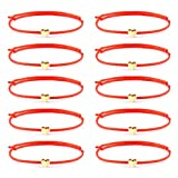 YJT Heart Wish Bracelet/Anklet That Fall Off Make A Wish Red String Bracelets for Women Teen Girls Handmade Jewelry Adjustable 7' to 11.8', 10 pc