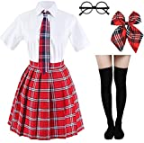 Japanese Tartan Pleated School Uniform Cosplay Costumes with Socks Eyeglass Frame Set (Red)(L = Asia XL)(SSF09)