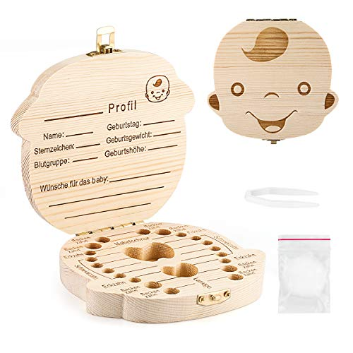 Aitsite Zahnbox Holz Milchzähne Box [Deutsch Version] Zahndose Milchzahndose Zahndöschen für Kinder (Junge)