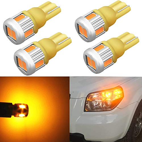 Alla Lighting 4x 194 LED Bulb Super Bright 175 168 2825 W5W T10 Wedge 5630 SMD Lights Replacement for Side Marker Interior Map Dome Trunk Parking Courtesy Lights, Amber Yellow