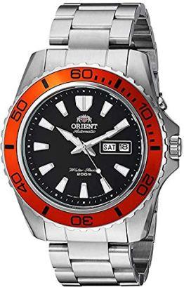 Orient Men's 'Mako XL' Japanese Automatic Stainless Steel Diving Watch, Color: Black Dial, Orange Bezel (Model: FEM75004B9)