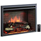 PuraFlame 33 Inches Western Electric Fireplace Insert with Fire Crackling Sound, Remote Control, 750/1500W, Black