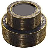 NERVURE Plastic Plates  Black Clear with Gold Rim Design Disposable Wedding Party Plastic Plates Include 51 Plastic Dinner Plates 10.25 inch,51 Salad/Dessert Plates 7.5 inch