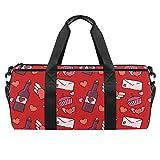 Bolsa de deporte de 45,72 cm, bolsa de viaje con compartimento de bolsillo húmedo para hombres y mujeres, ligera, tarjeta de amor feliz día de San Valentín