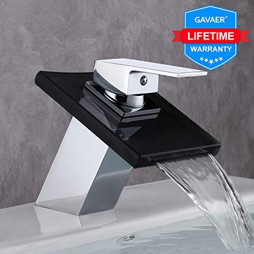 GAVAER Wasserfall Wasserhahn Bad,Glas-Auslauf Einhebelmischer Waschbeckenarmatur, Massivem Messing, Verchromung Prozess, Korrosionsschutz und Rostschutz.