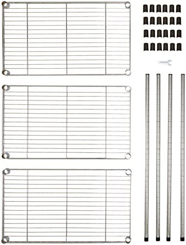 Amazon Basics 3-Shelf Adjustable, Heavy Duty Storage Shelving Unit (250 lbs loading capacity per shelf), Steel Organizer Wire Rack, Chrome (23.3L x 13.4W x 30H)