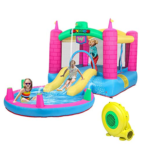 JOYMOR Bounce House Inflatable Jumping Castle Splash Pool, Water Slide Bouncer Indoor/Outdoor Playhouse for Kids Party Gift w/ Air Blower ( Tank )