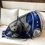 ZBHGF Ampliable Portador del Gato Mochila, Cápsula Espacial Burbuja Portador del Gato para El Pequeño Perro, Mascotas Yendo De Excursión el Morral Que Acampa,Azul