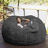 7ft Giant Fur Bean Bag Cover No Filler Soft Fluffy Fur Portable Living Room Lazy Sofa Bed Cover Without Filler (Dark Grey)
