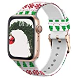 TSAAGAN Silicone Pattern Printed Band Compatible for Apple Watch Band 38mm 42mm 40mm 44mm, Floral...