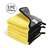 WORKPRO Lot de 3 Chiffons Microfibre Voiture, 1200GSM Ultra Absorbant Serviettes...