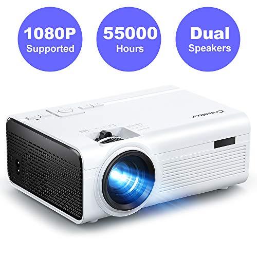 Crosstour Proiettore, Mini Videoproiettore Portatile, Home Cinema Supporta Full HD, 55000 Ore LED con HDMI USB TV Box TV...
