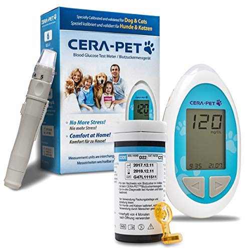 Cera-Pet Blood Glucose Monitor for Cats & Dogs Ideal for Vets and Pet Owners, Reads in Either mg/dL or mmol/L (Switchable)