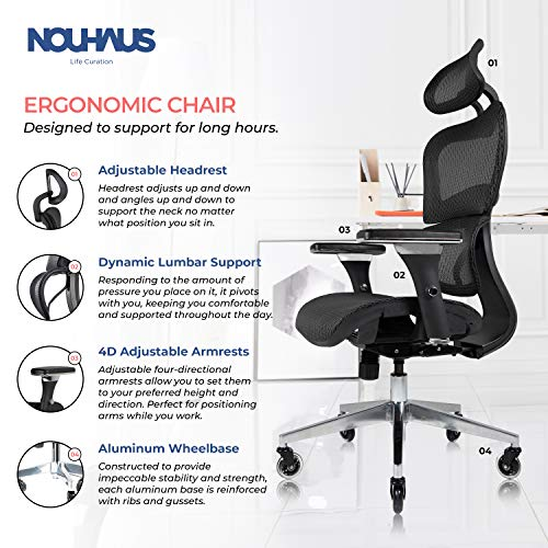 Product Image 2: NOUHAUS Ergo3D Ergonomic Office Chair - Rolling Desk Chair with 3D Adjustable Armrest, 3D Lumbar Support and Blade Wheels - Mesh <a href=
