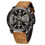 BENYAR Montre Homme chronographe pour Homme Mouvement à Quartz Bracelet en Cuir Montre de Sport d'affaires de Mode 30M étanche et Anti-Rayures Cadeau élégant
