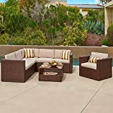 SOLAURA Outdoor Furniture Set 5-Piece (6 Seats) Wicker Furniture Modular Sectional Sofa Set Brown Wicker with Beige Cushions & Sophisticated Glass Coffee Table