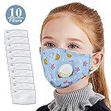Moonvvin Bambini Cotone Anti-Smog Anti-Polvere Regolabili e riutilizzabili Carbone Attivo di Protezione con 10 filtri