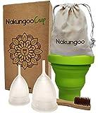 NakungooCup Kit Coupes Menstruelles Certifiées Bio 2 Cup Taille S & L Stérilisateur...