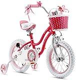 Royalbaby Girls Bike Stargirl 14 Inch Girl's Bicycle With Training Wheels Basket Child's Girl's Bike Pink