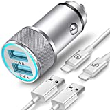 TIKALONG Car Charger Compatible with iPhone XR/XS/X / 8/7/6/6S Plus 5S/5C/SE, iPad Air Mini Pro (2.4A Dual Port USB Car Charger with 2X 3ft Charging Cable) (3in1 Pack)