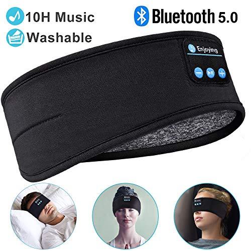 Sleep Headphones Bluetooth Sleeping Headphone Headband, Thin Soft Elastic Comfortable for Side Sleeper, Wireless Music Headband Headphones Eye Mask for Travel Running Yoga Sports, Gifts for Men Women