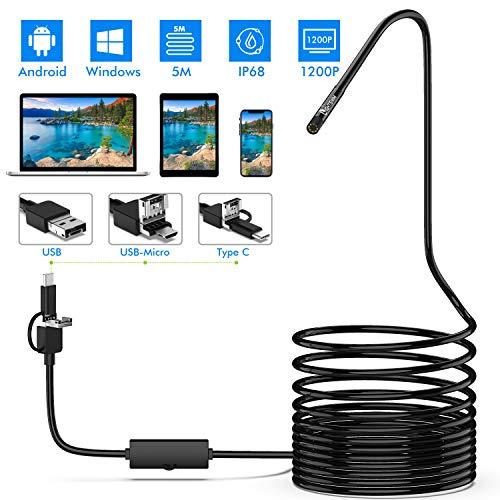 Lightswim Endoscopio 3 in 1 USB/Micro USB/Tipo-C 1200P Telecamera d'ispezione 2.0 Megapixel Boroscopio HD Cavo semirigido Impermeabile Serpente per Telefono Android/Windows/MacBook OS Computer (5 M)