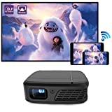 WIKISH Mini Wifi Projector,Portable 3D Movie Projector Pico Pocket Cinema with 5200mAh Battery Airplay Dlp Projector for Home Theater Ps4 Tv Dvd Usb