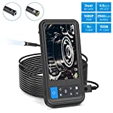 """ROTEK Inspection Camera,1080P Dual Lens Borescope with 6 LED Lights,4.5""""Screen 16.4 inch Waterproof Semi-Rigid Cable Endoscope with 32GB Memory Card and 2500mAh Battery"""