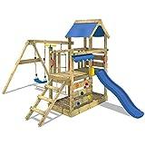 WICKEY Aire de jeux TurboFlyer Portique de jeux en bois avec toboggan