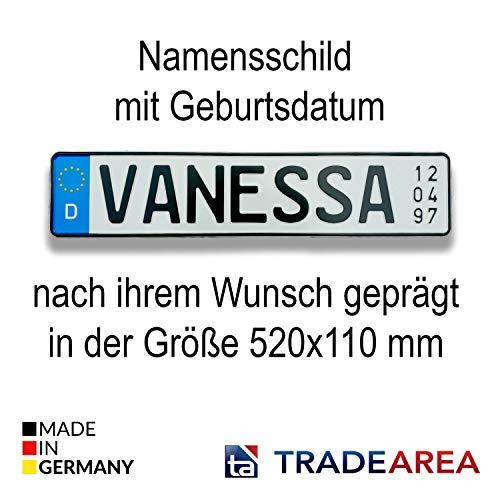 TA TradeArea Namensschild mit Geburtsdatum individualisierbares geprägtes Nummernschild egal ob Taufe oder Geburtstag (EU-Namensschild)