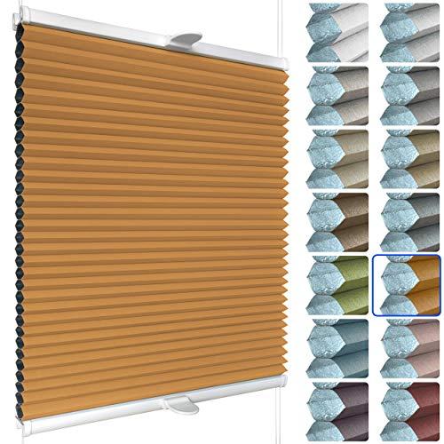 SchattenFreude Waben-Plissee für Fenster   100{213044e071004db3f90dcee49cfe4afe68aee98dab30eeaba751fd190d4df0d4} verdunkelnd/Blackout   Mit Klemm-Haltern   Klemmfix ohne Bohren   Orange (Weiße Rückseite), Breite: 30cm x Höhe: 100cm