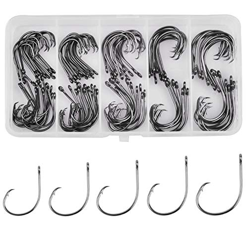 JSHANMEI Fishing Circle Hooks Saltwater in-line Circle Hooks Set High Carbon Steel Octopus Hook for...