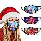GPURE 3 Stück 2021 Neuer Mundschutz Weihnachten LED Leucht leuchtet leuchtende Atmungsaktiv Neckwarmer Baumwolle Wiederverwendbar Mund und Nasenschutz Halstuch Multifunktionstuch für Party Dekor