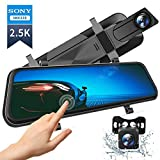 VanTop H610 10' 2.5K Mirror Dash Cam for Cars with Full Touch Screen, Waterproof Backup Camera Rear View Mirror Camera, Enhanced Night Vision with Sony Starvis Sensor, Parking Assistance
