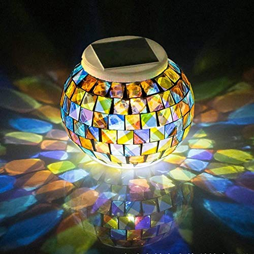 Color Changing Mosaic Solar Light Weatherproof Crystal Glass Globe Ball Light for for Garden Patio Party Yard Outdoor Indoor Decorations