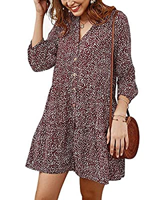 Material:35% cotton+65polyyester,soft material,comfortable and smooth,light weight and breathable,fashionable and elegant. Features: Flowy swing dress,loose fit,above knee length,v neck, 3/4 kantern sleeve,babydoll dresses,button,casual style,mini dr...