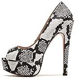 ELASHE - Zapatos para Mujer - Tacn de Aguja -15CM Peep Toe - 3CM Plataforma Tacones Mujer Fiestas...