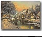 Tela De Lienzo 30x50cm Sin Marco Decoración de pared para el hogar Pintura de lienzo cálido Imagen de pared iluminada Decoración de Navidad
