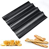 Baguette Pan, Perforated 2/3/4 Loaf French Bread Pans, Best Non-Stick Carbon Steel Baguette Baking Pan&Tray, 15-Inch L (4 Loaf)