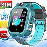 SIM Card Included Kids Smart Watches-GPS Tracker Smart Watch Phone for Boys Girls -Waterproof Smartwatch with SOS Games Touch Digital Wrist Watch Holiday Toys Birthday Gifts (Green)