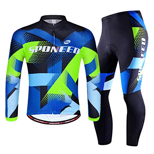 sponeed Cycling Clothes for Men Long Sleeve Mountain Bike Road Bicycle Shirt Jeresys Pants Padded Bike Jakcet Outfit