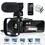 "Video Camera Camcorder WiFi FHD 1080P 30FPS 26MP YouTube Vlogging Camera 16X Digital Zoom 3.0"" Touch Screen Digital Camera Video Recorder with Microphone Remote Control Lens Hood Infrared Night Vision"