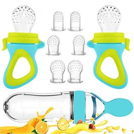Baby Food Feeder, Fresh Food – 2 Pack Fruit Feeder Pacifier, 6 Different Sized Silicone Teething Pacifiers   1 Pack Baby Food Dispensing Spoon   Baby Fruit Teether   Baby Feeding Set (Blue)